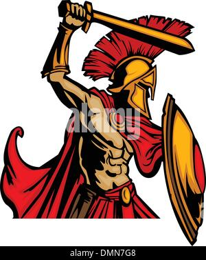 Spartan Trojan Mascot Vector with Sword and Shield Stock ...