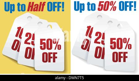 Discount price tags 50 percent off sale - Stock Photo