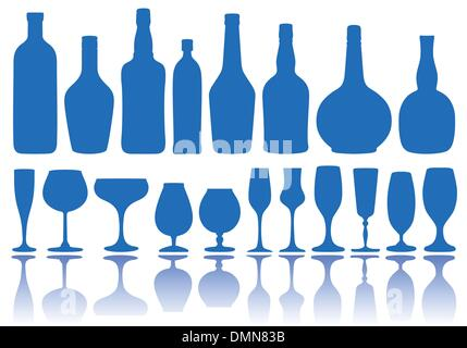 bottles and glasses, vector - Stock Photo