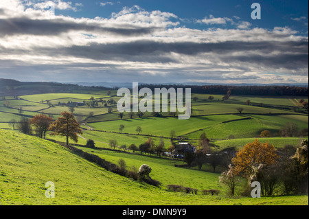 Herefordshire countryside in autumn from the Marcle Ridge near Much Marcle, Herefordshire, England, UK - Stock Photo