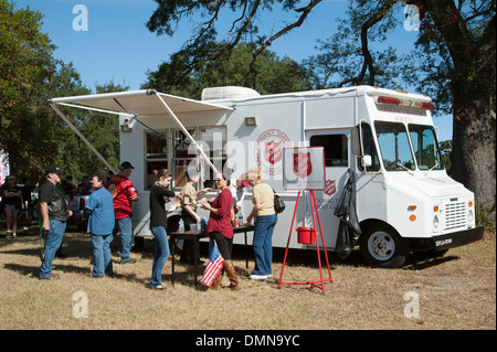Salvation Army Emergency Disaster Services truck serving food on Veterans Day Pensacola Florida USA - Stock Photo