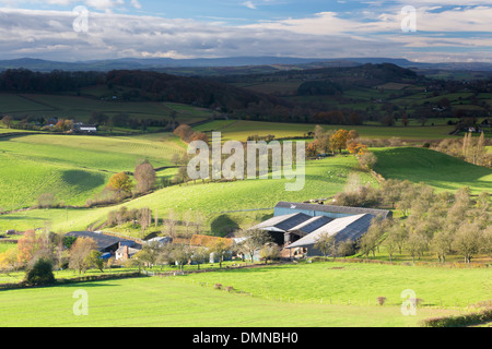 Herefordshire countryside from the Marcle Ridge and distant Black Mountains Herefordshire, England, UK - Stock Photo