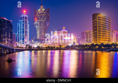 Macau, China skyline at the high rise casino resorts. - Stock Photo
