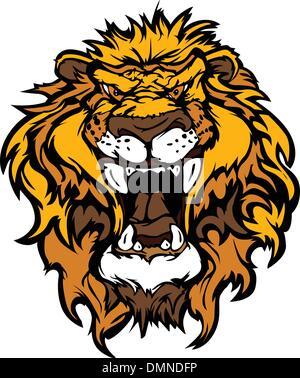 Lion Head Cartoon Mascot Illustration - Stock Photo