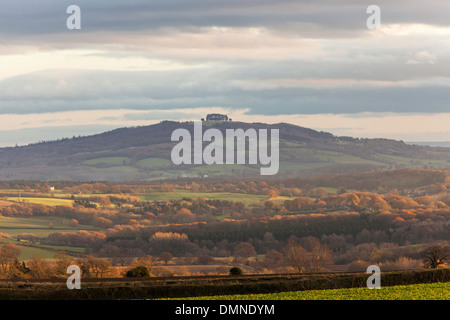 May Hill, Gloucestershire in autumn, from the Marcle Ridge, Herefordshire, England, UK - Stock Photo