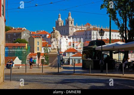 Lisbon, Sao Vicente de Fora church from Largo das Portas do Sol viewpoint, Alfama district, Portugal, Europe - Stock Photo