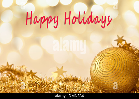 Happy Holidays card with glitter and room for text - Stock Photo