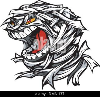 Screaming Scary Mummy Halloween Monster Head Cartoon Vector Illu - Stock Photo