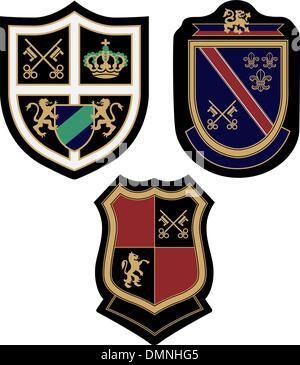royal classic emblem badge shield set - Stock Photo