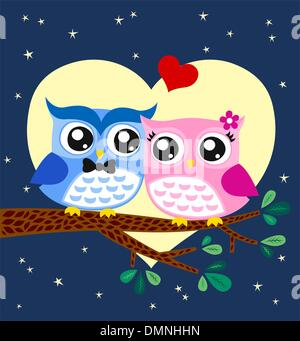 Owl bird couple in love - Stock Photo
