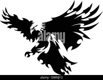 Eagle Mascot Flying Wings Design - Stock Photo