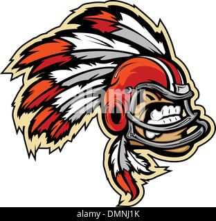Indian Chief Football Mascot Wearing Helmet with Feathers Vector - Stock Photo