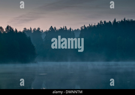 Mist over a lake in the morning - Stock Photo