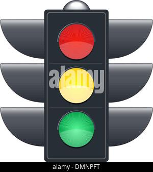 Traffic lights on white background - Stock Photo