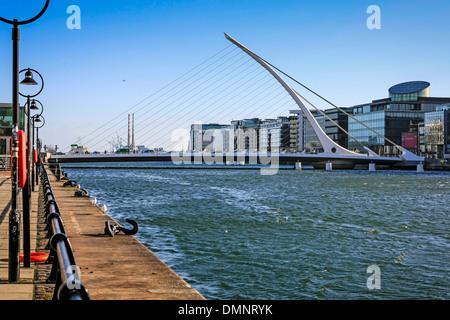 The Samuel beckett Bridge in Dublin Ireland - Stock Photo