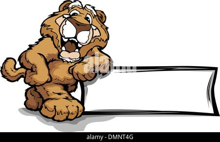 Graphic Vector Image of a Happy Cute Cougar or Mountian Lion Mas - Stock Photo
