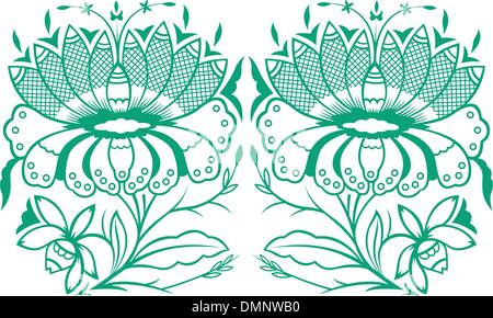 paisley flower illustration - Stock Photo