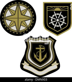 emblem badge with sail sign - Stock Photo