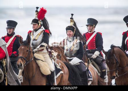 Netherlands, Scheveningen, bicentenary. Historic landing at Scheveningen beach. French army in traditional costume - Stock Photo