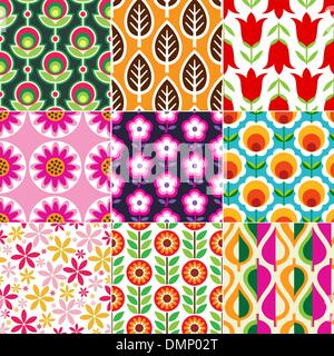 seamless retro flower pattern - Stock Photo