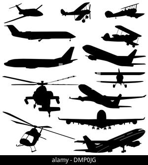 planes and helicopter silhouettes - Stock Photo