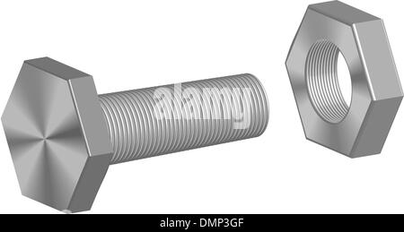 Screw-bolt and nut - Stock Photo