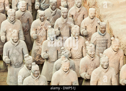 Figures of the Terracotta Warriors Army Pit Number 1, Xian, Shaanxi Province, PRC, People's Republic of China, Asia - Stock Photo