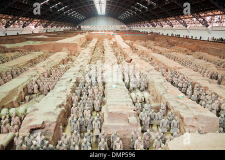Inside the museum of the Terracotta Warriors Army Pit Number 1, Xian, Shaanxi Province, PRC, People's Republic of - Stock Photo