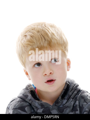 Young caucasian blond boy portrait looks away - Stock Photo