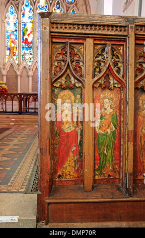 Panel details of the rood screen in the parish church of St Mary the Virgin at North Elmham, Norfolk, England, United - Stock Photo