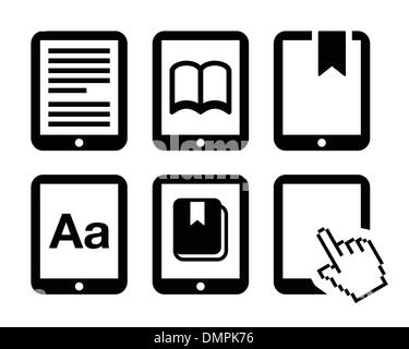 E-book reader, e-reader vector icons set - Stock Photo