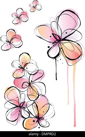 abstract watercolor flowers, vector - Stock Photo
