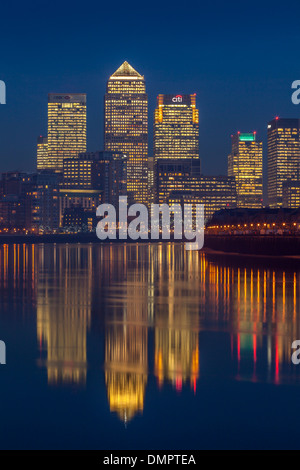 Canary Wharf Financial District Through The Fog, London, England - Stock Photo