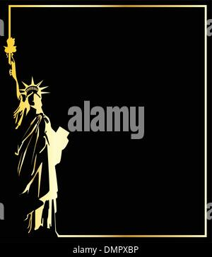 the gold vector statue of liberty on black background - Stock Photo