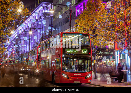 Selfridges Department Store and Oxford Street at Christmas, London, England - Stock Photo