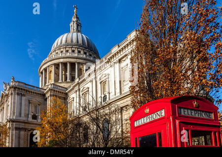 St Paul's Cathedral and Traditional Red Telephone Box, London, England - Stock Photo