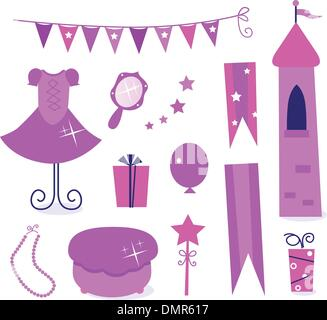 Cute icons for little princess Party isolated on white ( pink ) - Stock Photo