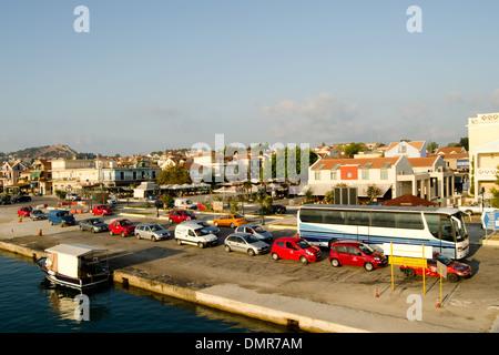 Cars waiting to board the ferry from Lixouri to Argostoli, Kefalonia, Greece - Stock Photo
