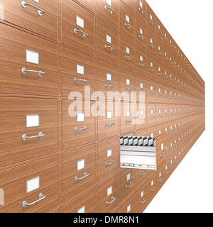 Wooden File Cabinets. Open drawer. - Stock Photo