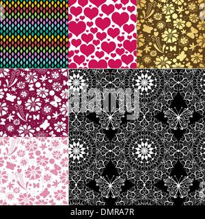 Collection seamless colorful patterns - Stock Photo