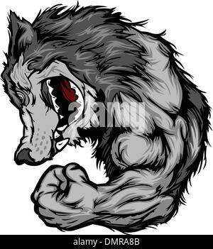 Wolf Mascot Flexing Arm Vector Cartoon - Stock Photo