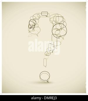 Question mark made from blue speech bubbles - Stock Photo