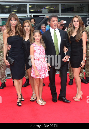 Sylvester Stallone wife Jennifer Flavin and daughters Sophia Sistine and Scarlet 'The Expendables 2' UK Premiere - Stock Photo
