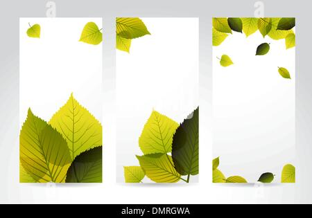 Fresh natural vertical banners with leafs - Stock Photo