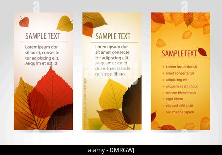 Fresh natural fall vector vertical banners with leafs - Stock Photo