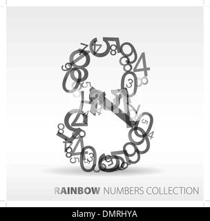 Number eight made from various numbers - Stock Photo
