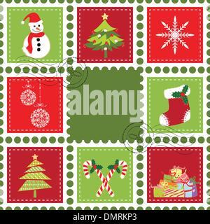 Set of Christmas stamp postage - Stock Photo