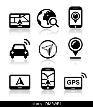 GPS, navigation travel vector icons set - Stock Photo