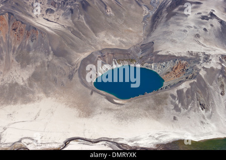 volcanco vent lava flow crater lake Andes Chile - Stock Photo