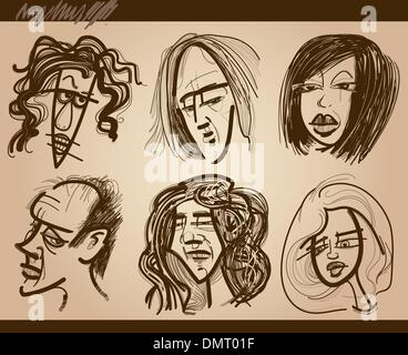 people faces caricature drawings set - Stock Photo